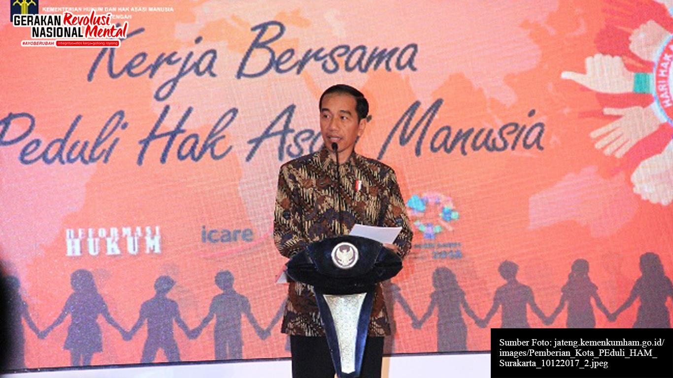 Presiden Jokowi dalam sambutan Peringatan Hari Hak Asasi Manusia