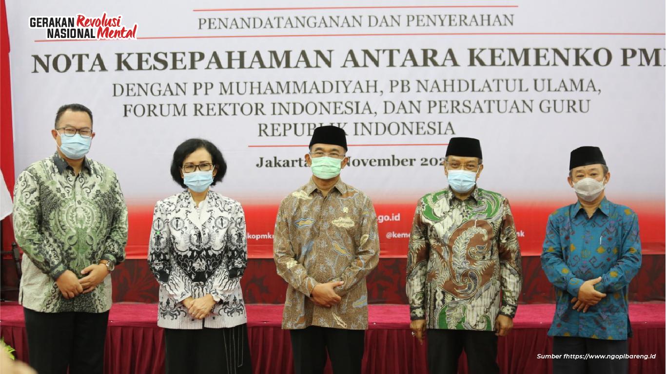 PP Muhammadiyah bekerja sama dengan Kemenko PMK ikut mensosialisasikan Gerakan Nasional Revolusi Mental (GNRM) dengan menginisiasi berbagai agenda kegiatan pada tahun 2021