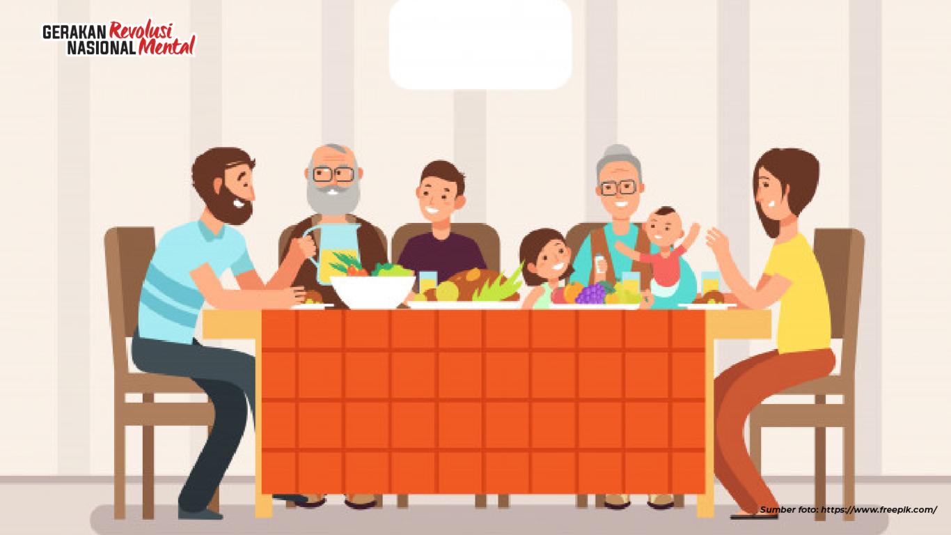 Meningkatkan kualitas hubungan keluarga dengan menetapkan kesepakatan menanggalkan gawai saat makan bersama di  meja makan