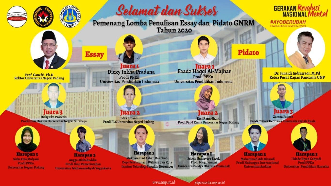 lomba penulisan esay dan pidato GNRM Universitas Negeri Padang